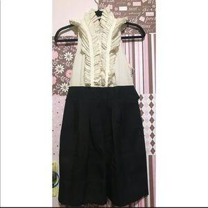 BCBG MAXAZRIA Black and White Ruffled Dress